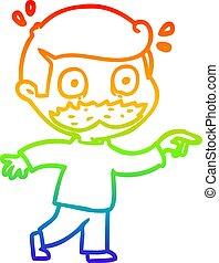 rainbow gradient line drawing cartoon man with mustache...