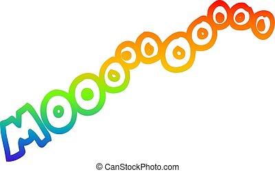 rainbow gradient line drawing cartoon moo noise - rainbow...