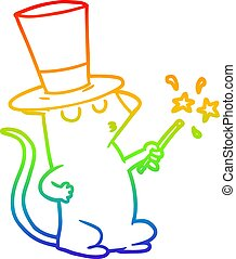 rainbow gradient line drawing cartoon mouse magician
