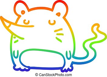 rainbow gradient line drawing cartoon mouse
