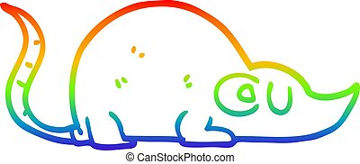 rainbow gradient line drawing cartoon mouse