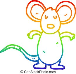 rainbow gradient line drawing cartoon mouse rat