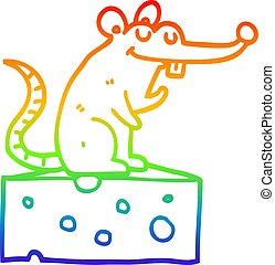 rainbow gradient line drawing cartoon mouse sitting on cheese