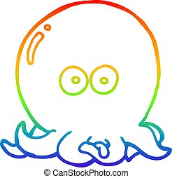 rainbow gradient line drawing cartoon octopus