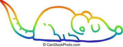 rainbow gradient line drawing cartoon peaceful mouse