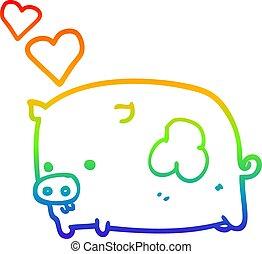 rainbow gradient line drawing cartoon pig in love