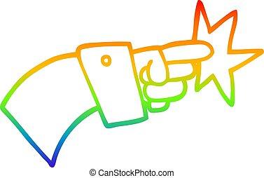 rainbow gradient line drawing cartoon pointing hand icon