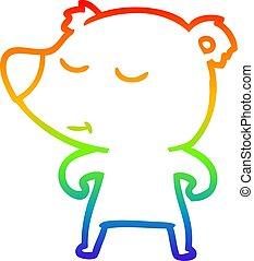 rainbow gradient line drawing cartoon polar bear