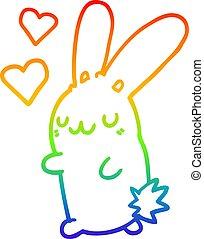 rainbow gradient line drawing cartoon rabbit in love