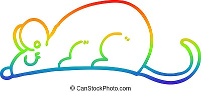 rainbow gradient line drawing of a cartoon rat