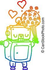 rainbow gradient line drawing cartoon robot in love