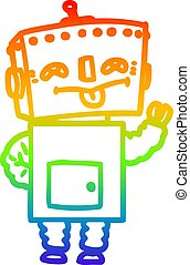 rainbow gradient line drawing cartoon robot