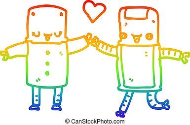 rainbow gradient line drawing cartoon robots in love