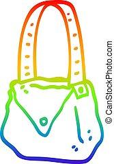 rainbow gradient line drawing cartoon satchel - rainbow...