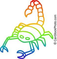 rainbow gradient line drawing cartoon scorpion - rainbow ...
