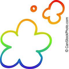 rainbow gradient line drawing cartoon smoke clouds