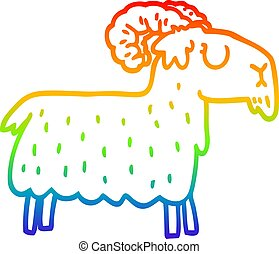 rainbow gradient line drawing cartoon stubborn goat