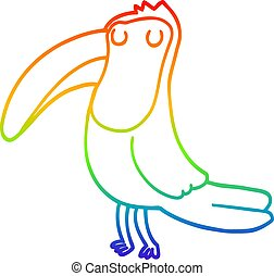 rainbow gradient line drawing cartoon toucan
