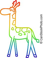rainbow gradient line drawing cartoon walking giraffe