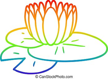 rainbow gradient line drawing cartoon water lily