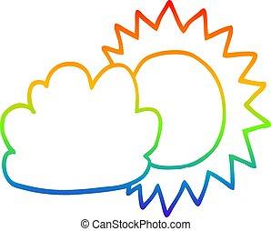 rainbow gradient line drawing cartoon weather