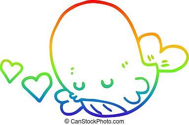 rainbow gradient line drawing cartoon whale in love