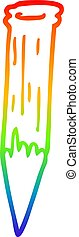 rainbow gradient line drawing cartoon wooden stake - rainbow...