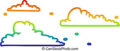 rainbow gradient line drawing clouds drifting by