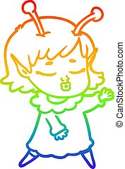 rainbow gradient line drawing cute alien girl cartoon