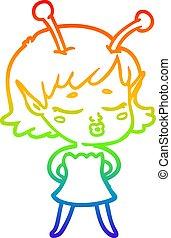 rainbow gradient line drawing cute alien girl cartoon
