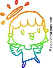 rainbow gradient line drawing cute angel