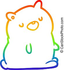 rainbow gradient line drawing cute bear