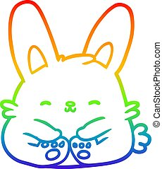 rainbow gradient line drawing cute bunny rabbit