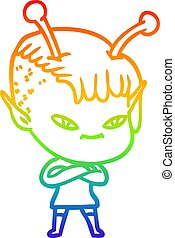 rainbow gradient line drawing cute cartoon alien girl