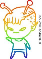 rainbow gradient line drawing cute cartoon alien girl