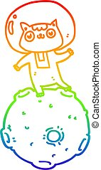 rainbow gradient line drawing cute cartoon astronaut cat
