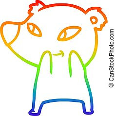 rainbow gradient line drawing cute cartoon bear