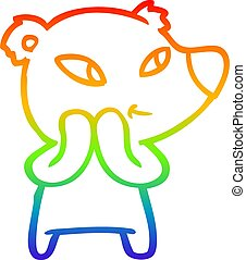 rainbow gradient line drawing cute cartoon bear