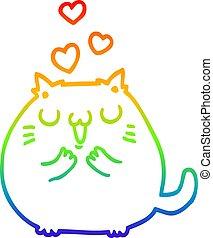 rainbow gradient line drawing cute cartoon cat in love