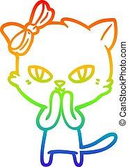 rainbow gradient line drawing cute cartoon cat