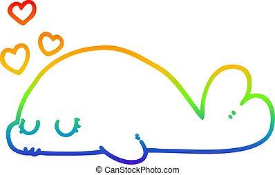 rainbow gradient line drawing cute cartoon dolphin