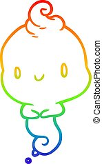 rainbow gradient line drawing cute cartoon ghost