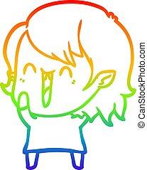 rainbow gradient line drawing cute cartoon happy vampire girl