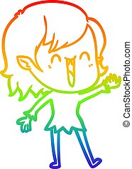 rainbow gradient line drawing cute cartoon happy vampire girl