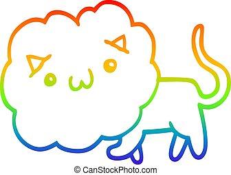 rainbow gradient line drawing cute cartoon lion