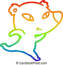rainbow gradient line drawing cute cartoon polar bear