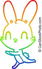 rainbow gradient line drawing cute cartoon rabbit