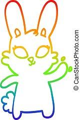 rainbow gradient line drawing cute cartoon rabbit waving