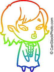 rainbow gradient line drawing cute cartoon vampire girl