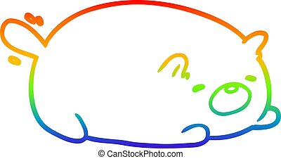 rainbow gradient line drawing cute cat